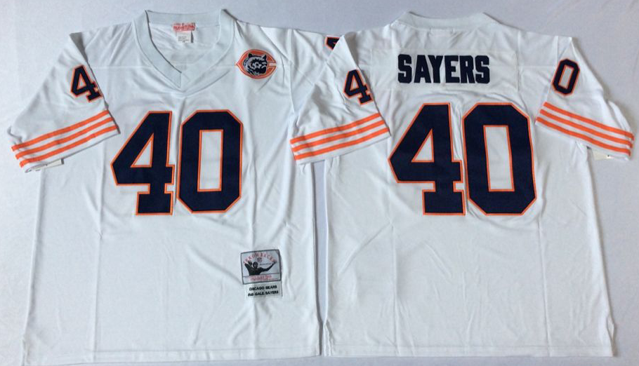 Men NFL Chicago Bears 40 Sayers white Mitchell Ness jerseys