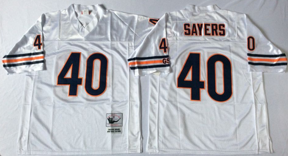 Men NFL Chicago Bears 40 Sayers white style2 Mitchell Ness jerseys