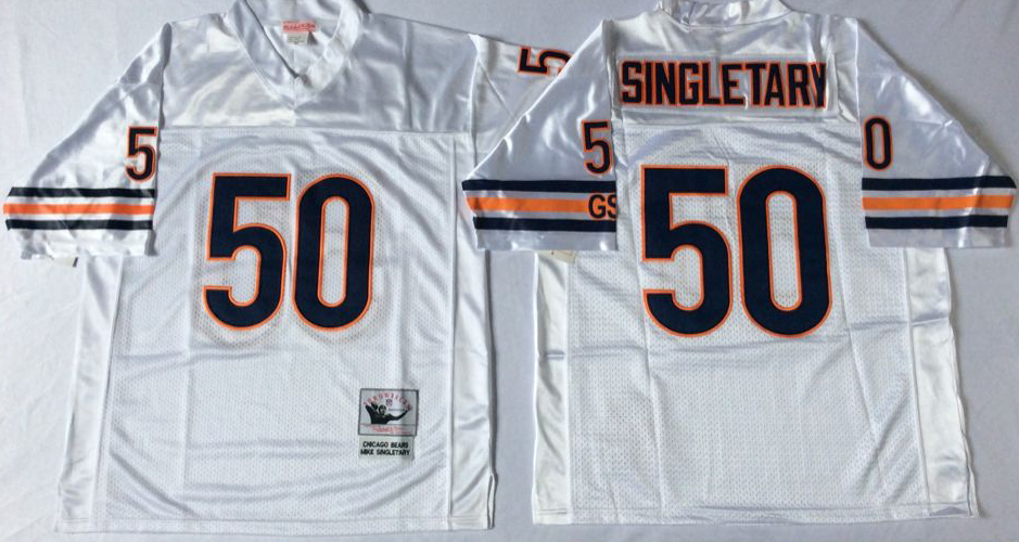 Men NFL Chicago Bears 50 Singletary white Mitchell Ness jerseys