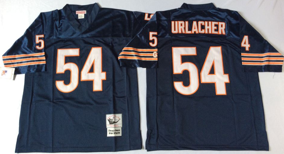 Men NFL Chicago Bears 54 Urlacher blue style2 Mitchell Ness jerseys
