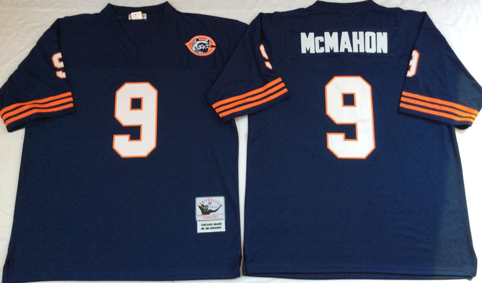 Men NFL Chicago Bears 9 McMahon blue Mitchell Ness jerseys