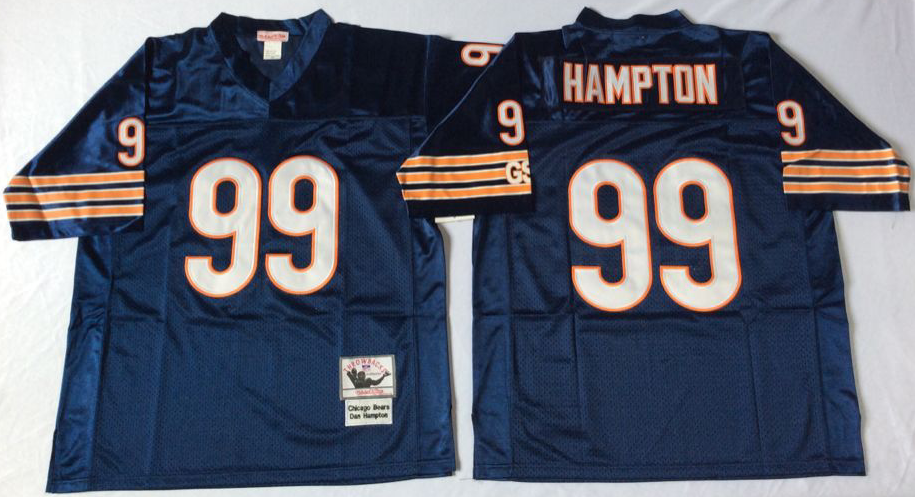 Men NFL Chicago Bears 99 Hampton blue Mitchell Ness jerseys
