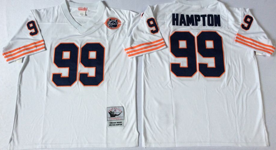 Men NFL Chicago Bears 99 Hampton white style2 Mitchell Ness jerseys