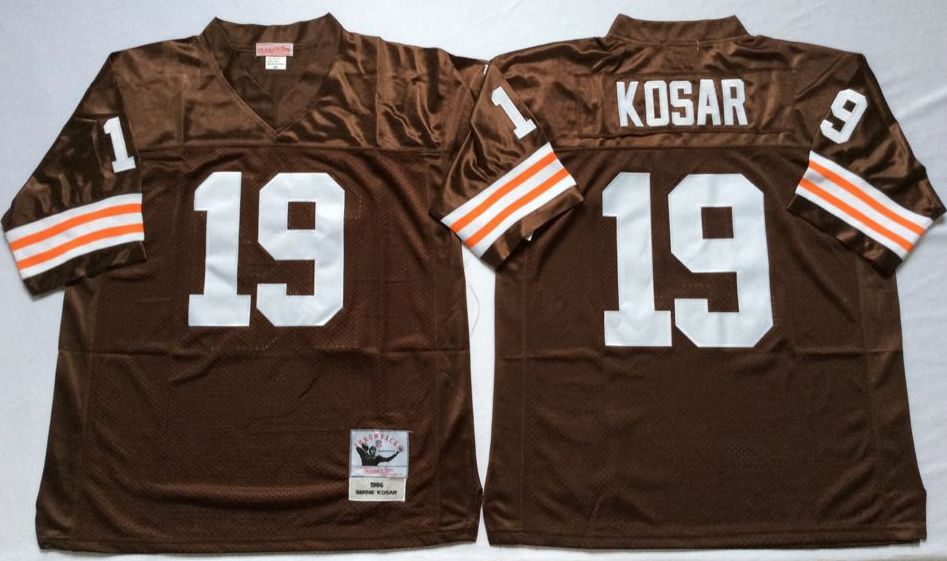 Men NFL Cleveland Browns 19 Kosar brown Mitchell Ness jerseys