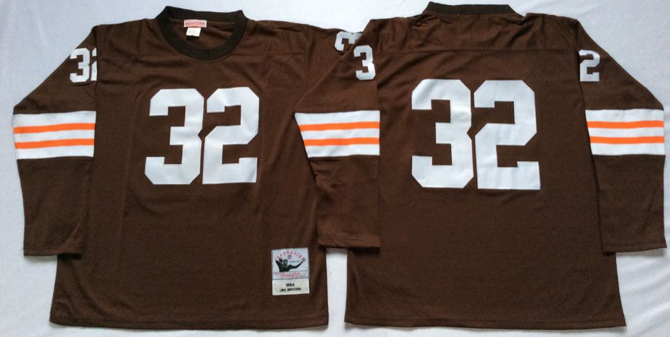 Men NFL Cleveland Browns 32 Brown brown style 2 Mitchell Ness jerseys