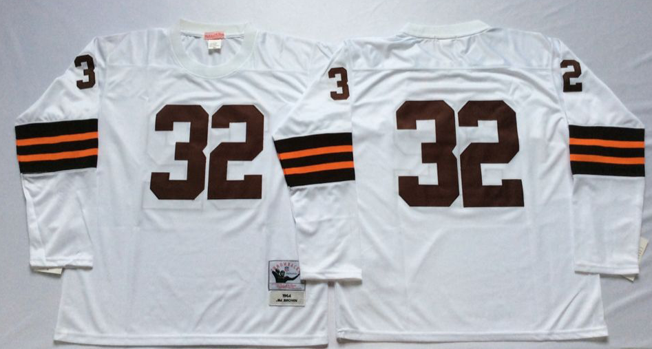Men NFL Cleveland Browns 32 Brown white Mitchell Ness jerseys