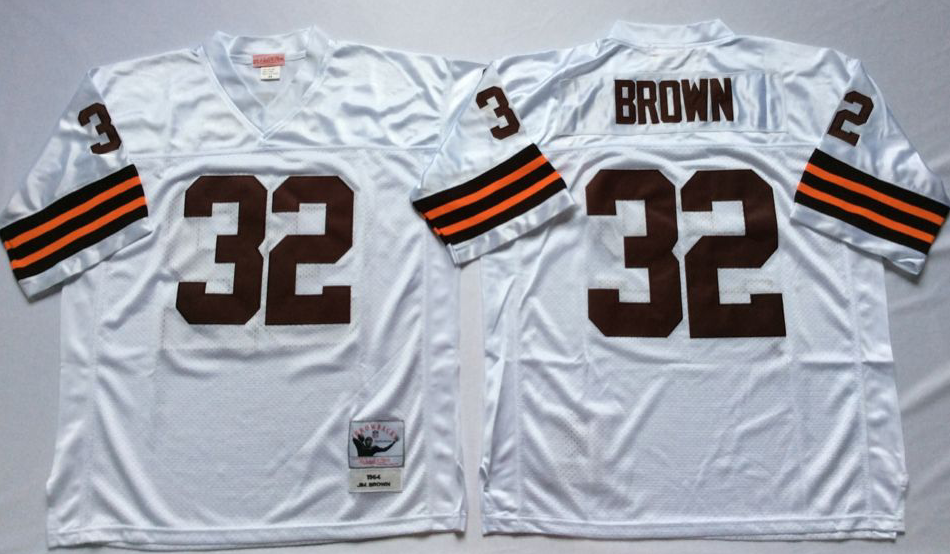 Men NFL Cleveland Browns 32 Brown white style 2 Mitchell Ness jerseys