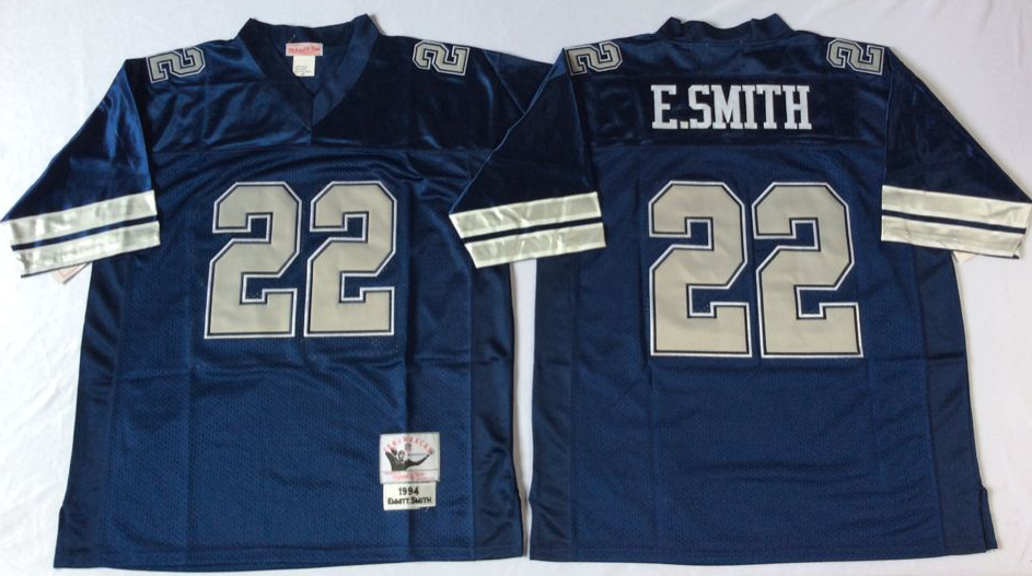 Men NFL Dallas Cowboys 22 E Smith blue style 2 Mitchell Ness jerseys