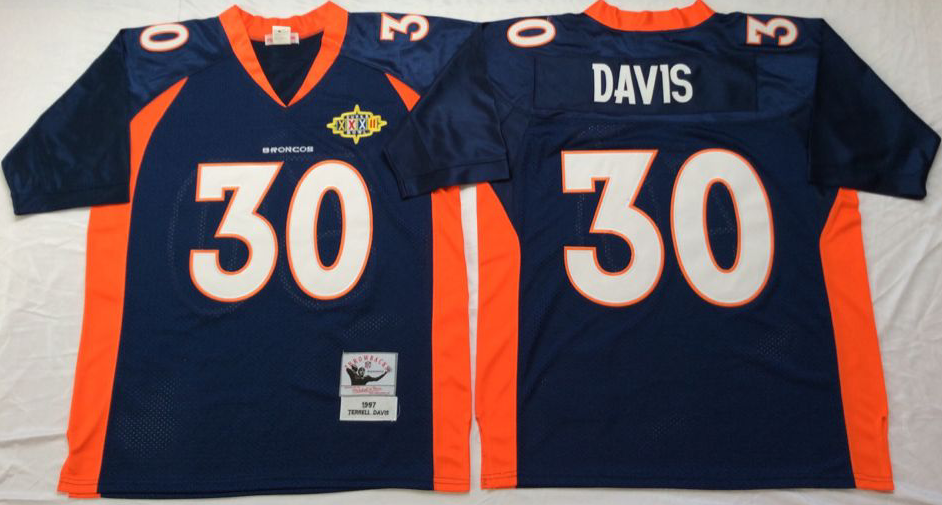 Men NFL Denver Broncos 30 Davis blue Mitchell Ness jerseys