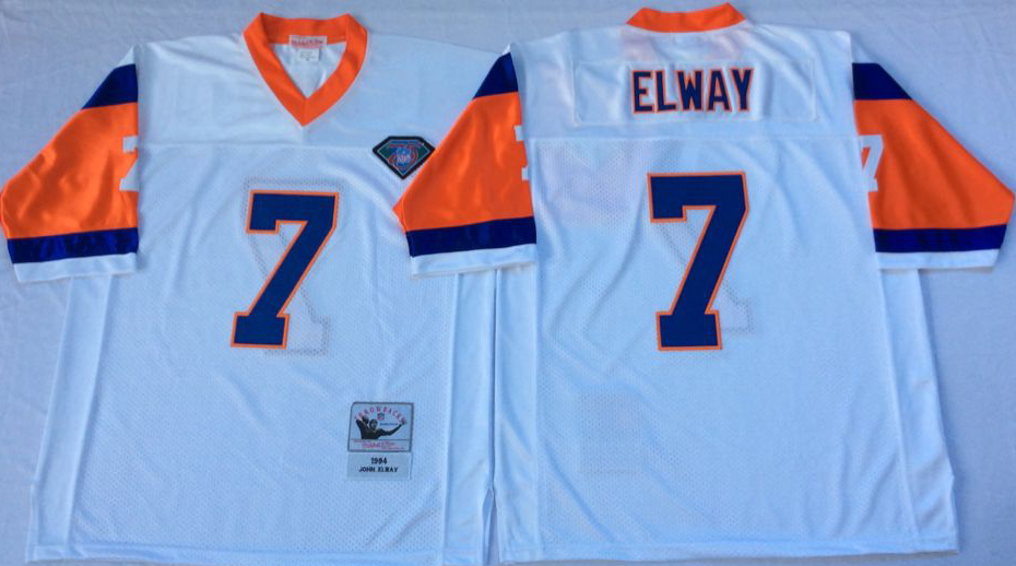 Men NFL Denver Broncos 7 Elway white Mitchell Ness jerseys