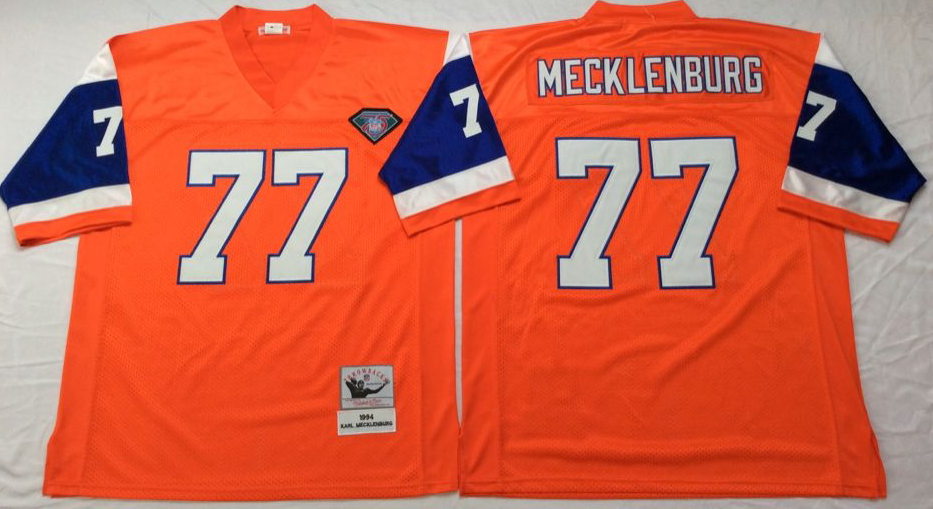 Men NFL Denver Broncos 77 Mecklenburg orange Mitchell Ness jerseys