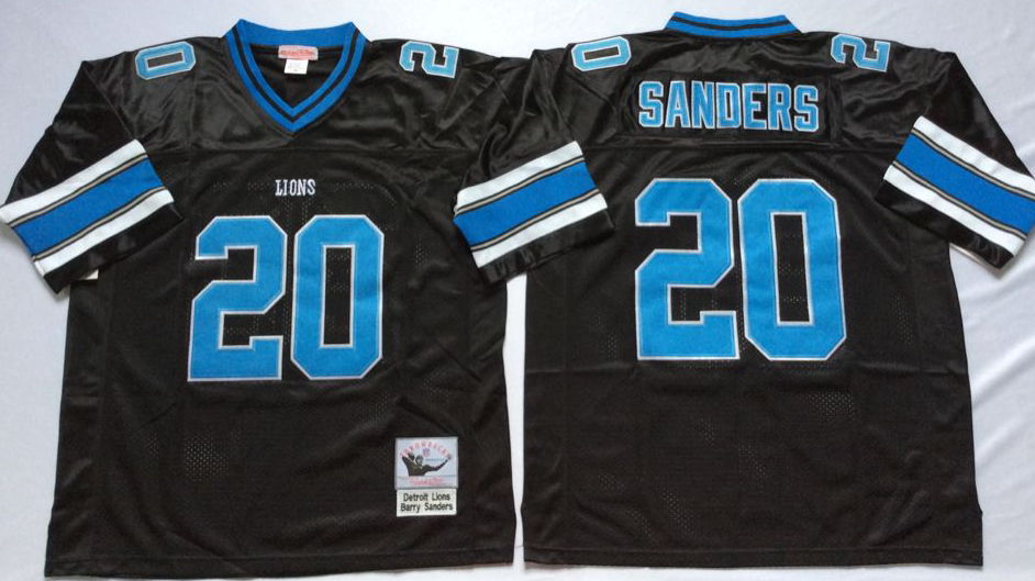 Men NFL Detroit Lions 20 B Sanders black Mitchell Ness jerseys