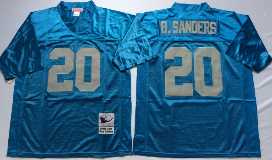 Men NFL Detroit Lions 20 B Sanders light blue Mitchell Ness jerseys