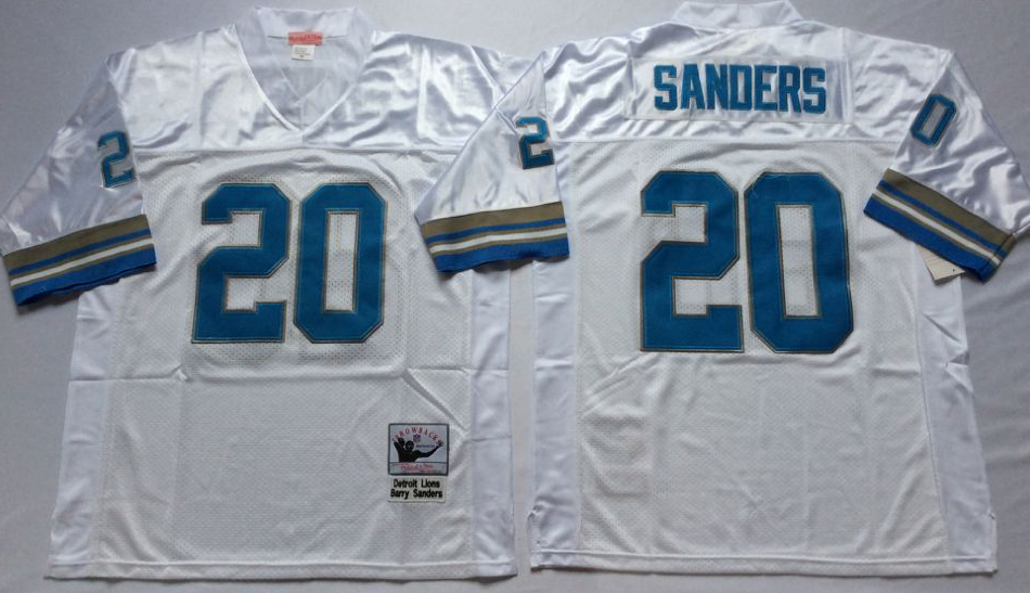 Men NFL Detroit Lions 20 B Sanders white Mitchell Ness jerseys