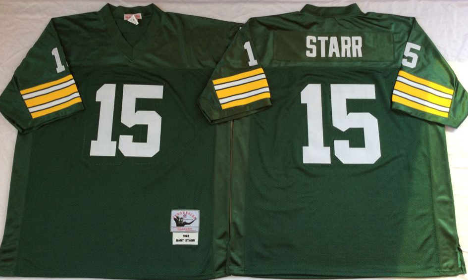 Men NFL Green Bay Packers 15 Starr green style 2 Mitchell Ness jerseys