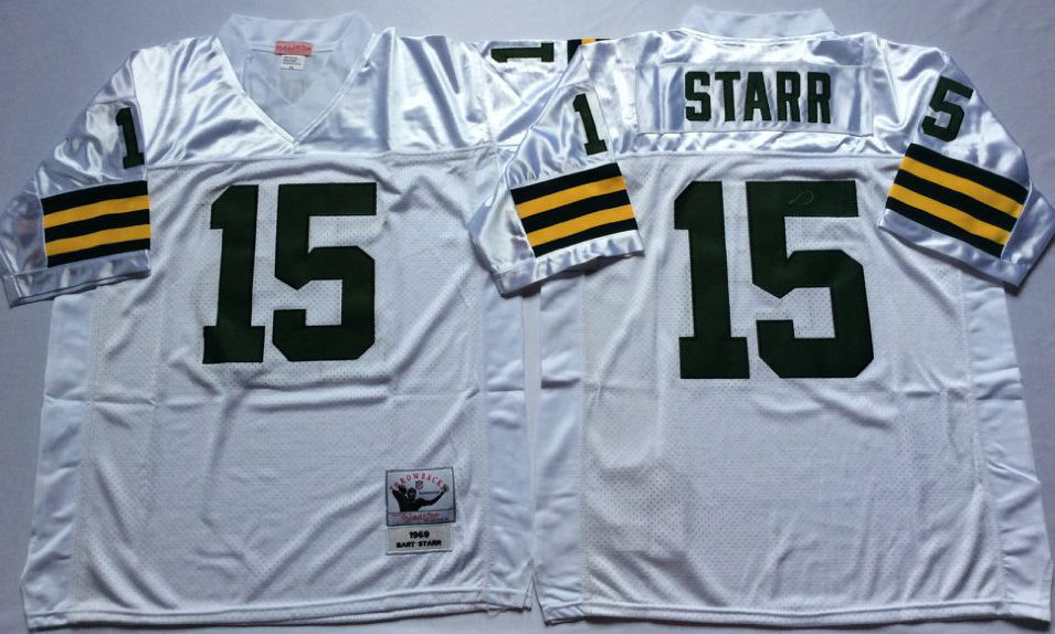 Men NFL Green Bay Packers 15 Starr white style 2 Mitchell Ness jerseys