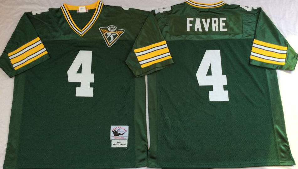 Men NFL Green Bay Packers 4 Favre green Mitchell Ness jerseys