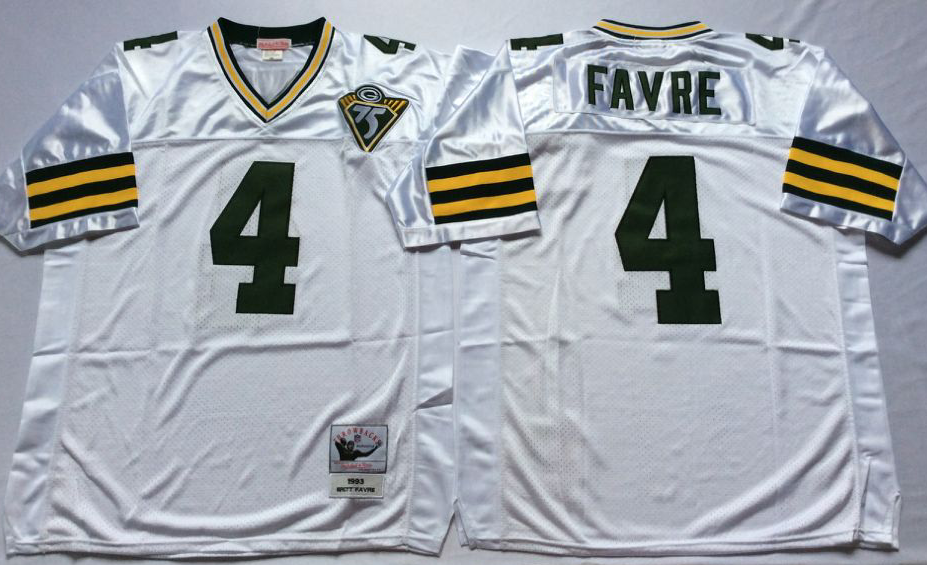 Men NFL Green Bay Packers 4 Favre white Mitchell Ness jerseys