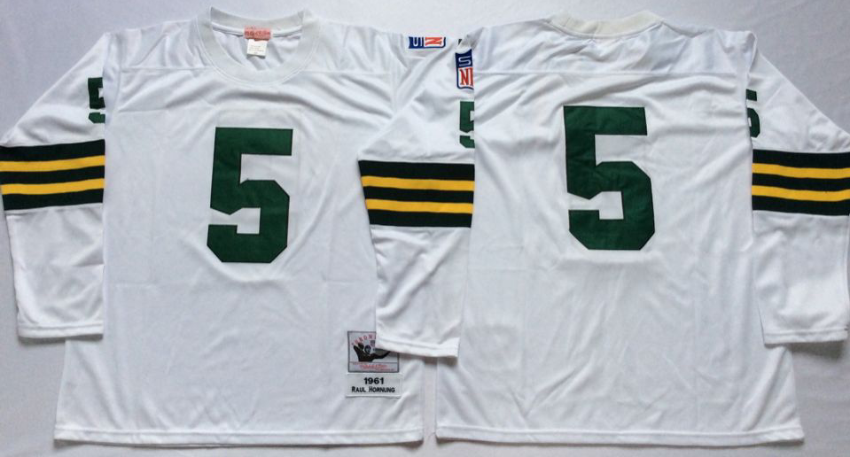 Men NFL Green Bay Packers 5 Hornung white style 2 Mitchell Ness jerseys