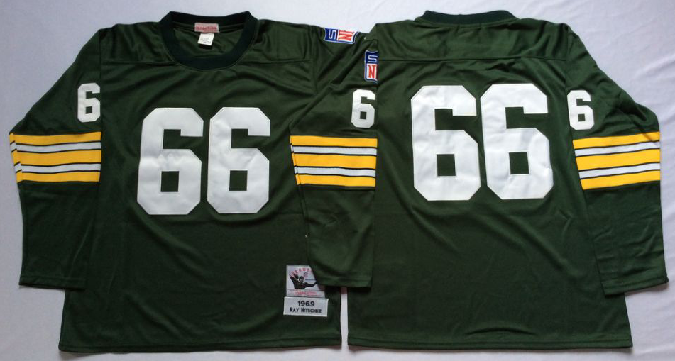 Men NFL Green Bay Packers 66 Nitschke green style 2 Mitchell Ness jerseys