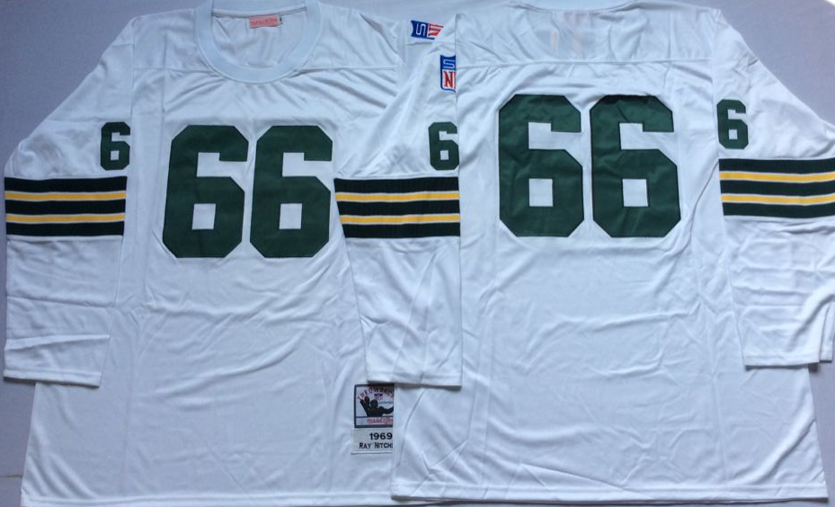 Men NFL Green Bay Packers 66 Nitschke white Mitchell Ness jerseys
