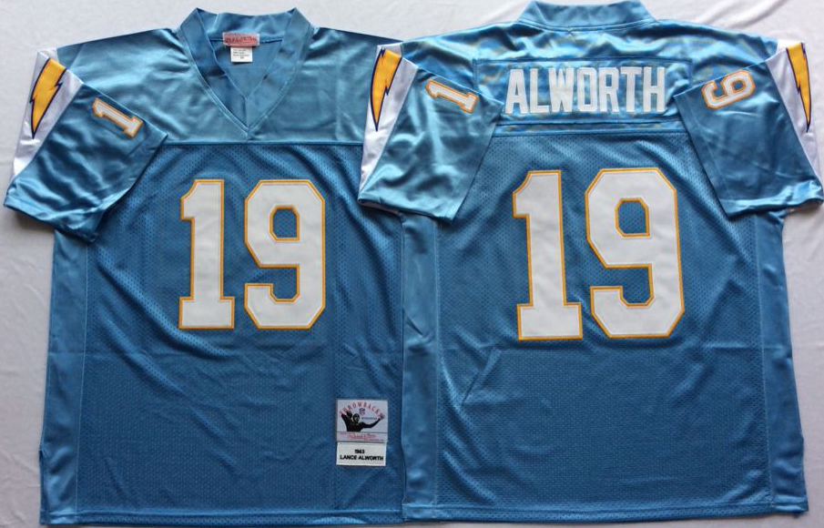 Men NFL Los Angeles Chargers 19 Alworth light blue Mitchell Ness jerseys