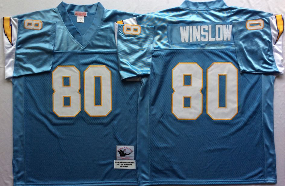 Men NFL Los Angeles Chargers 80 Winslow light blue Mitchell Ness jerseys