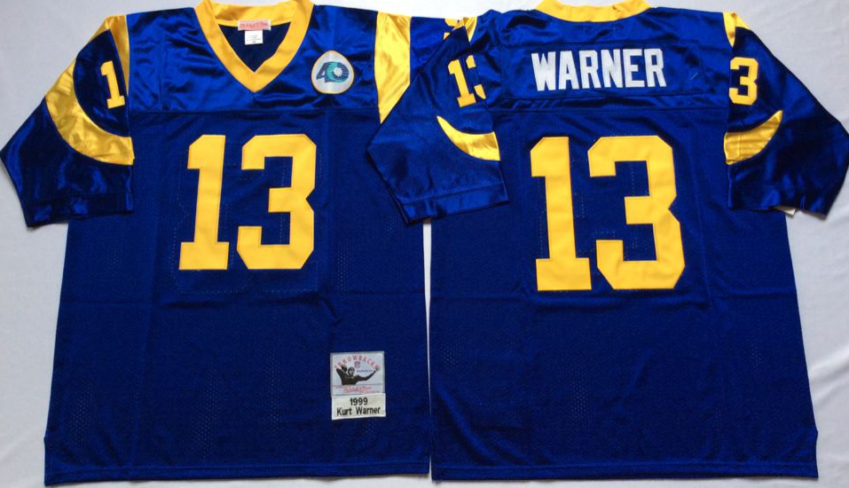 Men NFL Los Angeles Rams 13 Warner blue Mitchell Ness jerseys