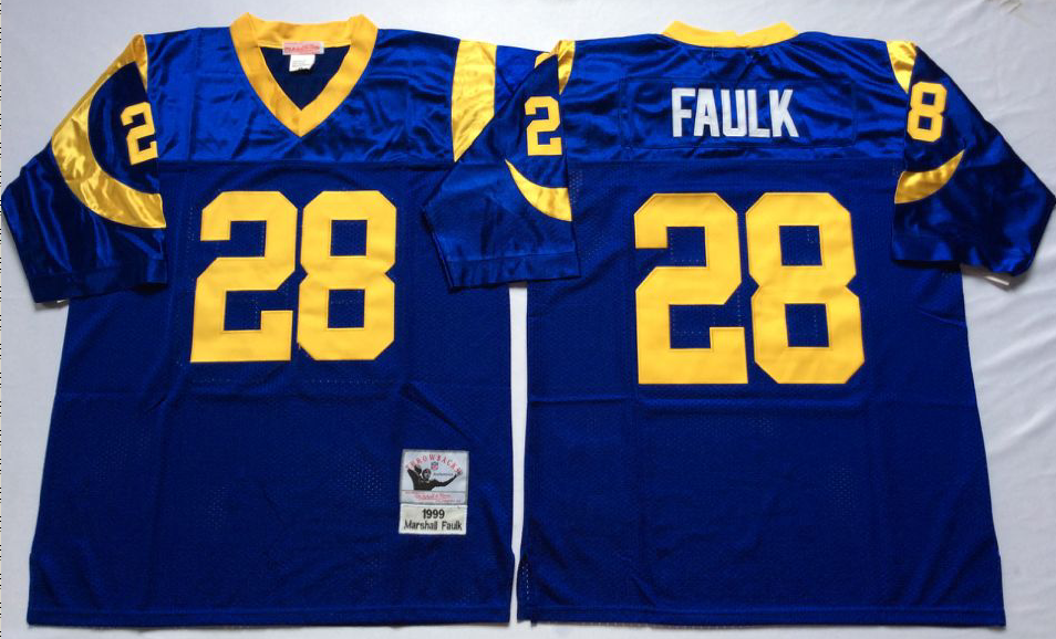 Men NFL Los Angeles Rams 28 Faulk blue Mitchell Ness jerseys