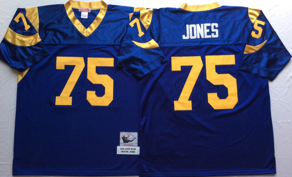 Men NFL Los Angeles Rams 75 Jones blue Mitchell Ness jerseys