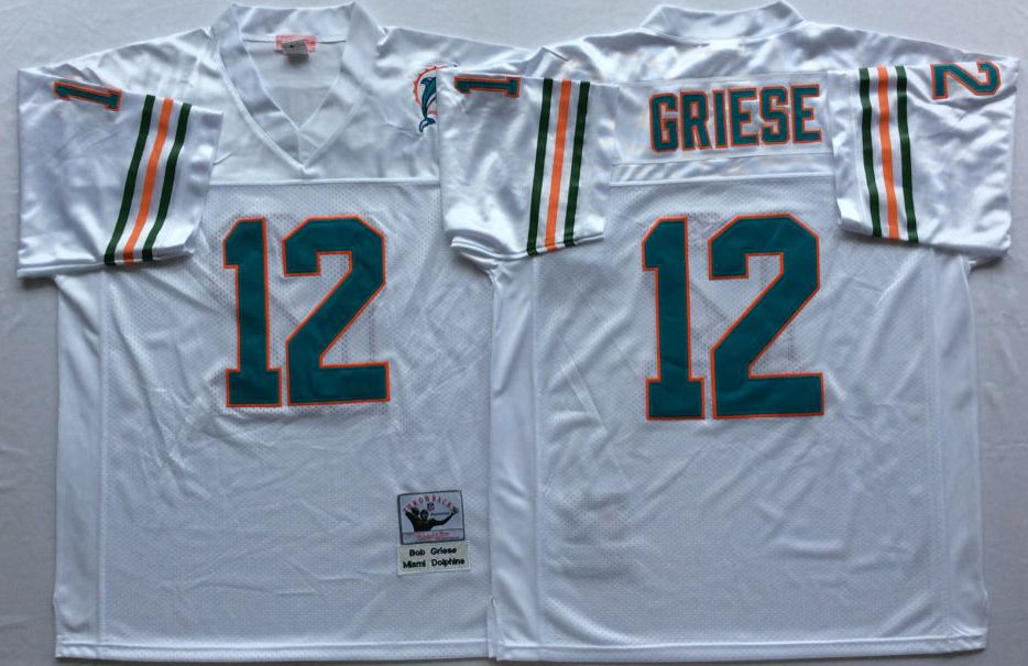 Men NFL Miami Dolphins 12 Griese white Mitchell Ness jerseys