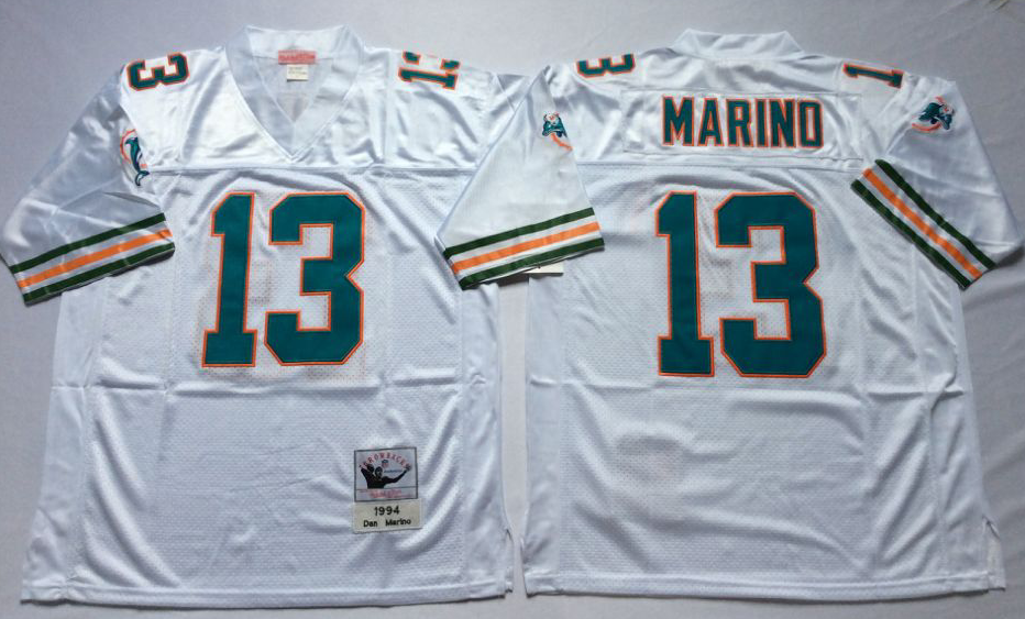 Men NFL Miami Dolphins 13 Marino white Mitchell Ness jerseys