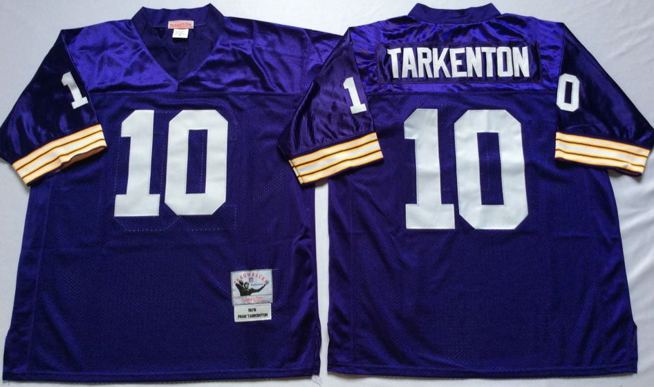Men NFL Minnesota Vikings 10 Tarkenton purple Mitchell Ness jerseys