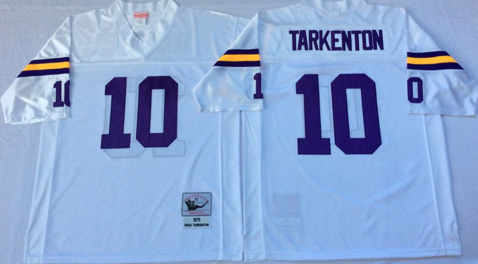 Men NFL Minnesota Vikings 10 Tarkenton white Mitchell Ness jerseys