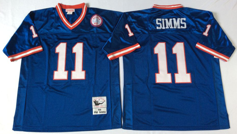 Men NFL New York Giants 11 Simms blue Mitchell Ness jerseys