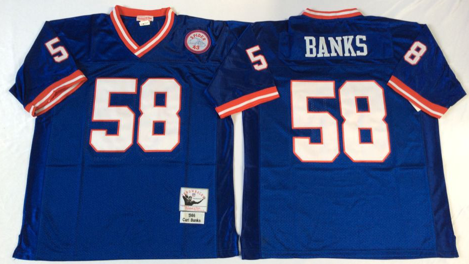 Men NFL New York Giants 58 Banks blue Mitchell Ness jerseys