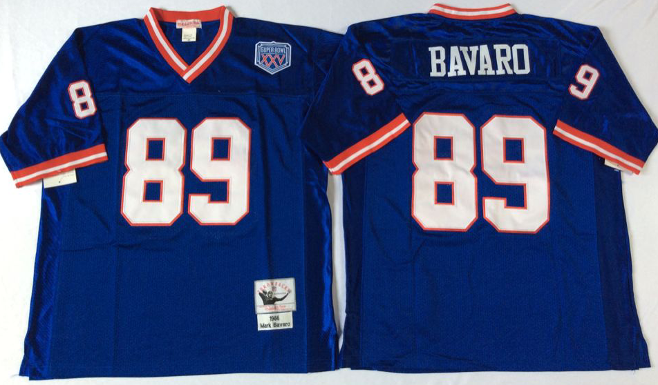 Men NFL New York Giants 89 Bavaro blue Mitchell Ness jerseys