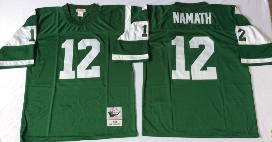 Men NFL New York Jets 12 Namath green Mitchell Ness jerseys