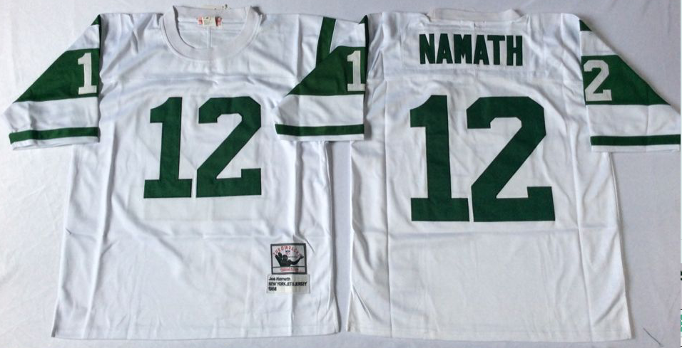 Men NFL New York Jets 12 Namath white Mitchell Ness jerseys