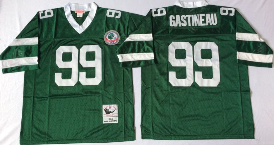 Men NFL New York Jets 99 Gastineau green Mitchell Ness jerseys