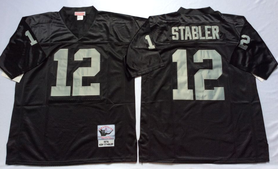 Men NFL Oakland Raiders 12 Stabler black Mitchell Ness jerseys