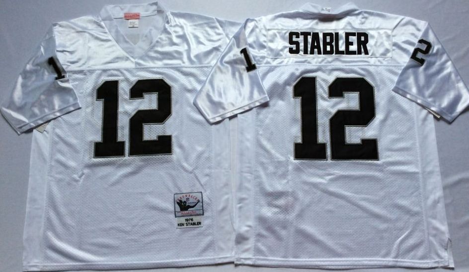 Men NFL Oakland Raiders 12 Stabler white Mitchell Ness jerseys