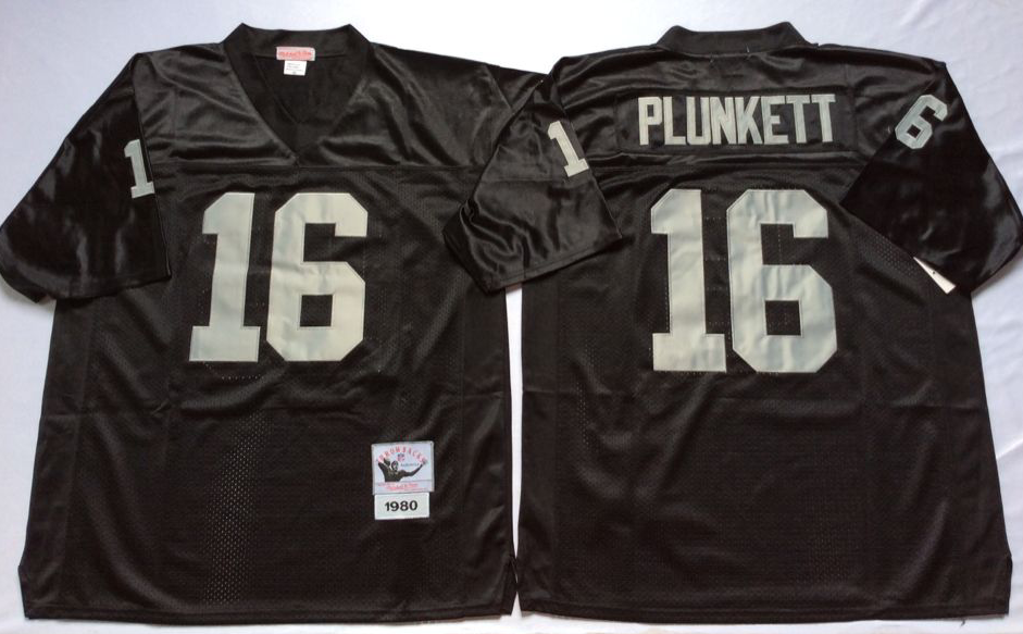Men NFL Oakland Raiders 16 Plunkett black Mitchell Ness jerseys