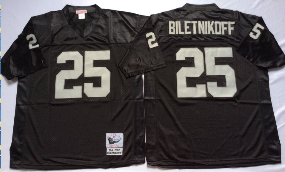 Men NFL Oakland Raiders 25 Biletnikoff black Mitchell Ness jerseys