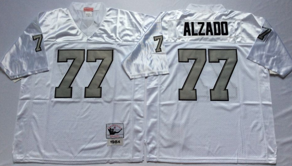 Men NFL Oakland Raiders 77 Alzado white Mitchell Ness jerseys