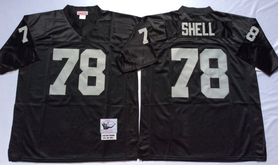 Men NFL Oakland Raiders 78 Shell black Mitchell Ness jerseys