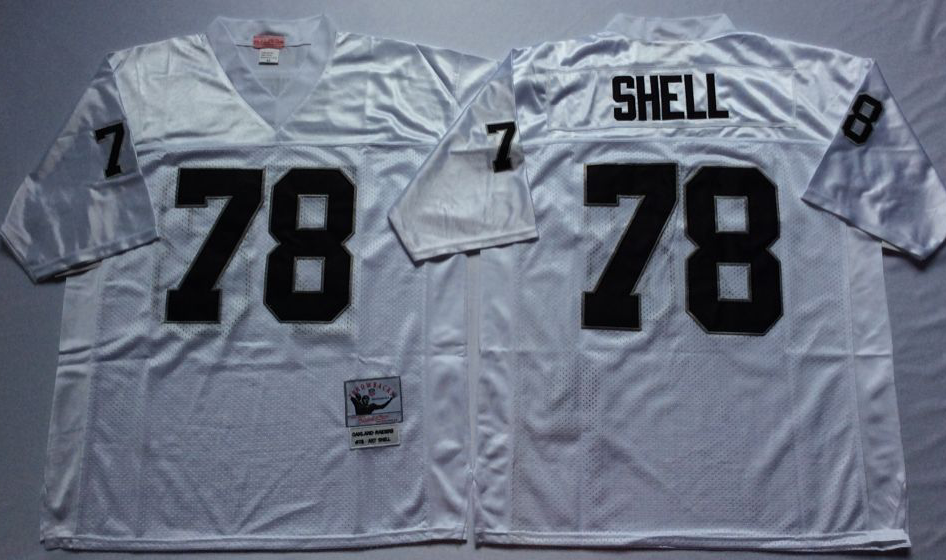 Men NFL Oakland Raiders 78 Shell white Mitchell Ness jerseys