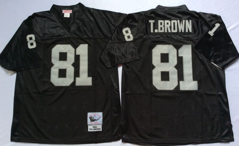 Men NFL Oakland Raiders 81 Brown black Mitchell Ness jerseys