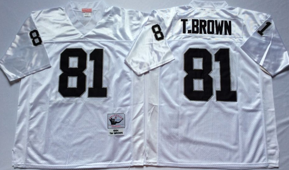 Men NFL Oakland Raiders 81 Brown white style 2 Mitchell Ness jerseys