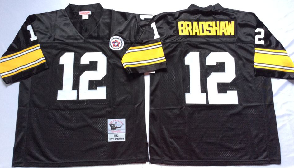 Men NFL Pittsburgh Steelers 12 Bradshaw black Mitchell Ness jerseys
